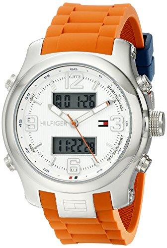 (Tommy Hilfiger Men's 1790947 Cool Sport Analog-Digital and Orange Silicone Strap Watch)