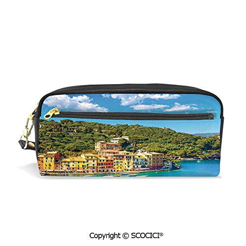 PU Leather Student Pencil Bag Multi Function Pen Pouch Portofino Landmark Aerial Panoramic View Village and Yacht Little Bay Harbor Decorative Office Organizer Case Cosmetic Makeup Bag ()