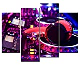SmartWallArt - Music Artistic Paintings Wall Art Colorful Music Studio Red Earplug 4 Panel Picture Print on Canvas for Modern Home Decoration