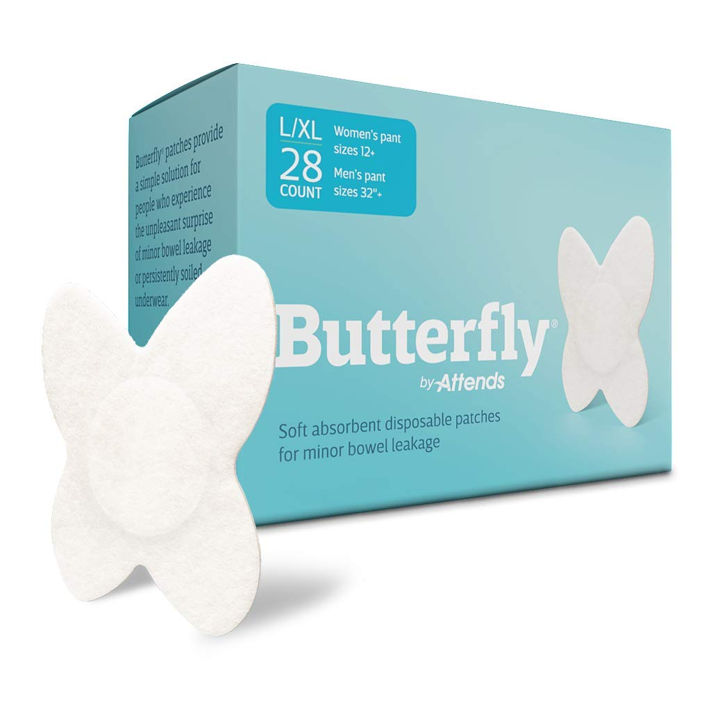 """Butterfly® Body Liner Pads Bowel Leaks (Unisex) L/XL Men's Pant Size 32""""+ or Women's Pant Size 12+ L/XL 28 Count"""