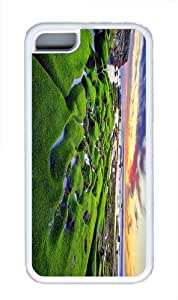 customizable cases green moss beach TPU White Case for iphone 5C