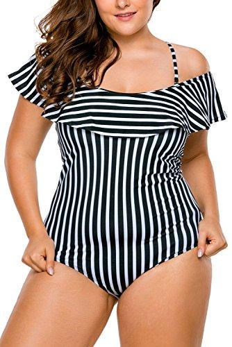 Lalagen-Womens-Strappy-Ruffle-Off-Shoulder-Plus-Size-One-Piece-Monokini-Bikini