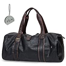 Micom Vintage Pu Leather Travel Tote Large Duffle Bags for Men,boys (Black)