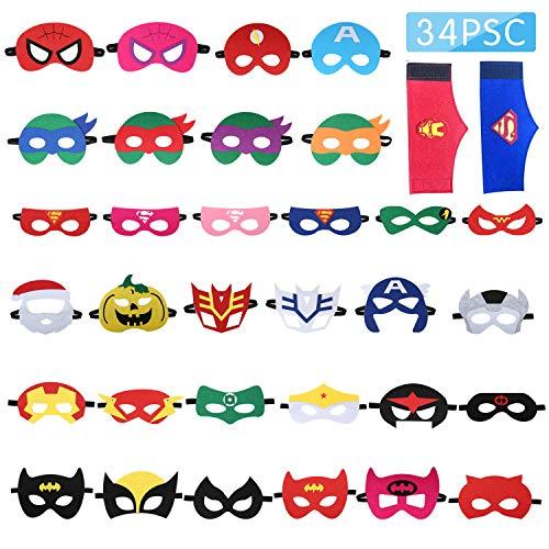Tomus-UNI 32 Pieces Superhero Masks&2 Superhero Party Bracelets,Superhero Party Supplies,Party Favors Half Masks for Children