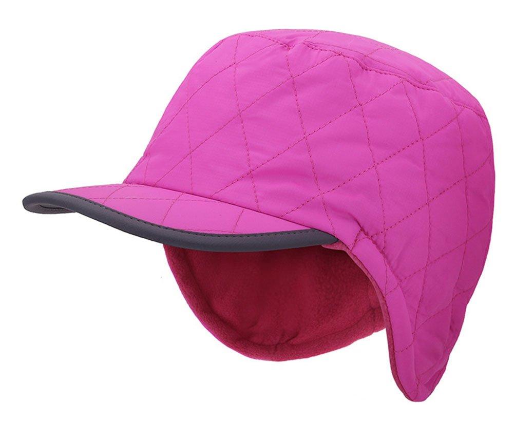 Roffatide Unisex Cotton Pilot Aviator Flat Top Hat Fall Winter Thick Warm Plaid Baseball Caps with Earmuffs Rose Red