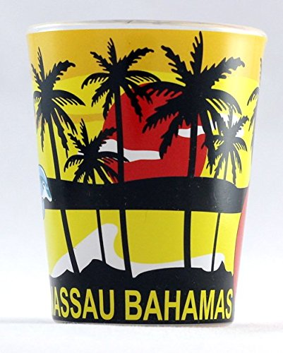 Nassau Bahamas Palms Flamingo and Dolphins Shot Glass