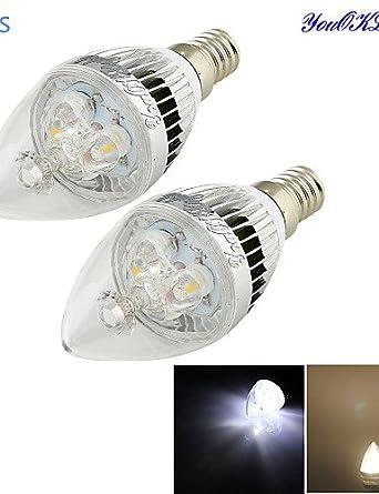 HJLHYL MND Bombillas Vela Decorativa YouOKLight C35 E14 3 W 3 LED de Alta Potencia 280