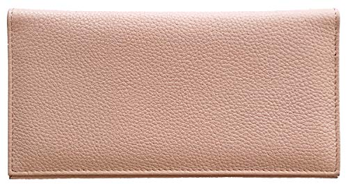 Light Pink Basic Leather Checkbook Cover Cowhide Leather Checkbook Cover