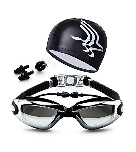 Qlten Swim Goggles and Cap Set, Swimming Goggles No Leaking Anti Fog UV with Free Protection Case + Nose Clip + Ear Plugs for Adult Men Women Youth Kids Child Girls (Black) -