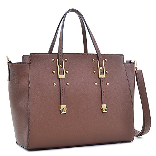dasein-elegant-buckle-strap-emblem-shoulder-bag-tote-handbag-tablet-bag-ipad-bag