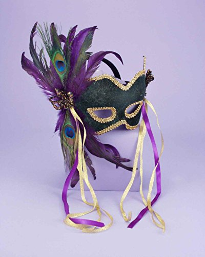 Forum Deluxe Half Mask With Peacock Feathers, Green, One Size (Mask Gras Peacock Mardi)