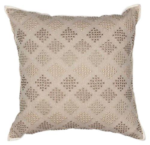 KAS Oriental Rugs Diamonds Cotton Linen Embroidered Pillow, 18