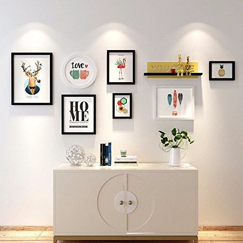 WUXK Creative built-in shelf wall wooden frame living room sofa photo walls are decorated in a minimalist modern photo wall by WUXK