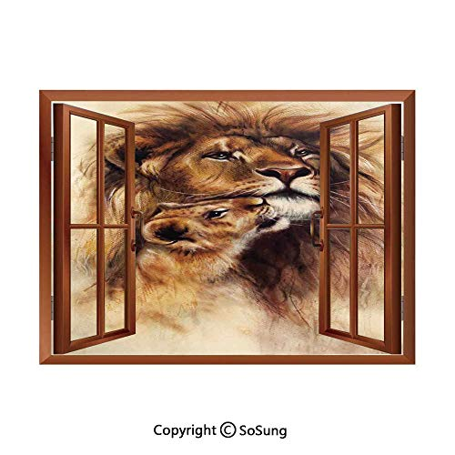 Safari Decor Removable Wall Sticker/Wall Mural,Painting of Loving Lion and her Baby Cub Snuggle Wildlife Nature Expression Safary Theme Image Creative Open Window Design Wall Decor,24