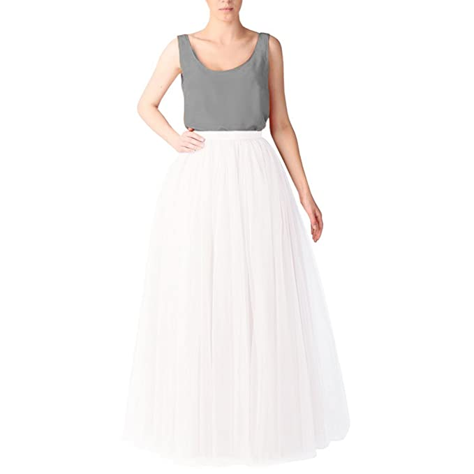 634370d022 Leslie Brown · WDPL Women's Long Tutu Tulle Skirt A Line Floor Length Skirts