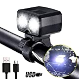 USB Rechargeable Bike Light LED Super Bright High Lumens Bicycle Front Lights with Mount Waterproof Headlights for Mountain Dirt Bike Night Riding Cycling Lamp