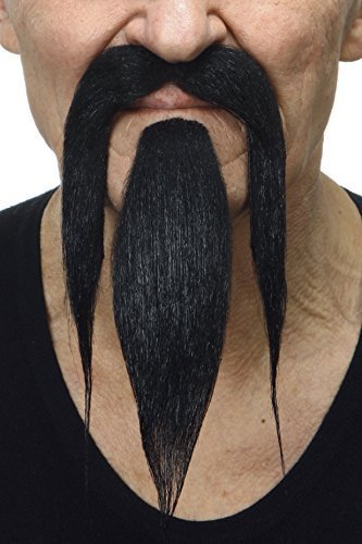 [Shaolin black fake beard and mustache, self adhesive] (False Beards And Moustaches)