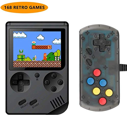 LINGSFIRE Handheld Game Console, 168 Classic Games Retro Video Game Console for Kids Boys and Adults, Comes with Extra Joystick, AV Cable for TV
