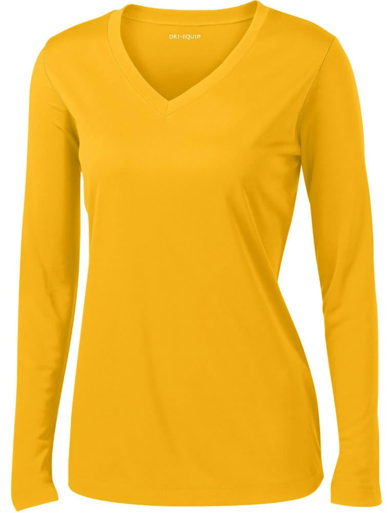 DRI-EQUIP(tm) - Ladies Long Sleeve Moisture Wicking Athletic Shirts, Gold Medium