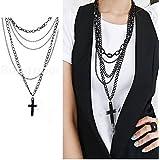 Fashion Jewelry Women Multilayer Sweater Black Long Chain Cross Pendant Necklace#by pimchanok shop