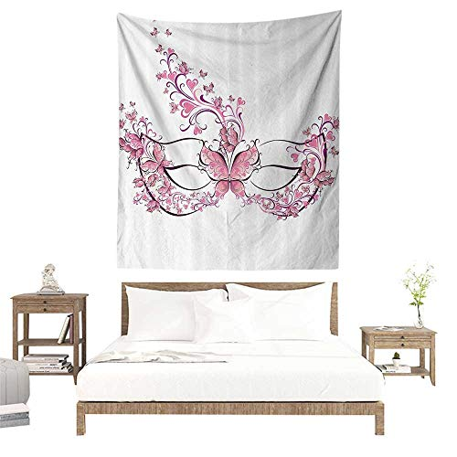 alisoso Wall Tapestries Hippie,Masquerade Decorations Collection,Masks for Carnival Fancy Dress Centuries Old Tradition Venice Design,Pink Purple W55 x L55 inch Tapestry Wallpaper Home Decor ()