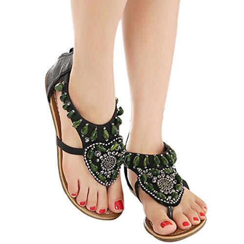 Amiley® Dames Bohemien Kralen Etnische Platte Jurk Sandalen Enkelband Strandschoenen Zwart