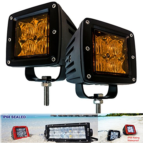 OZ-USA 4D POD Flood Beam Amber Lens Phillips LED lights yellow fog dust snow atv offroad 3 x 4 race beam truck motorcycle cube (Race Yellow)