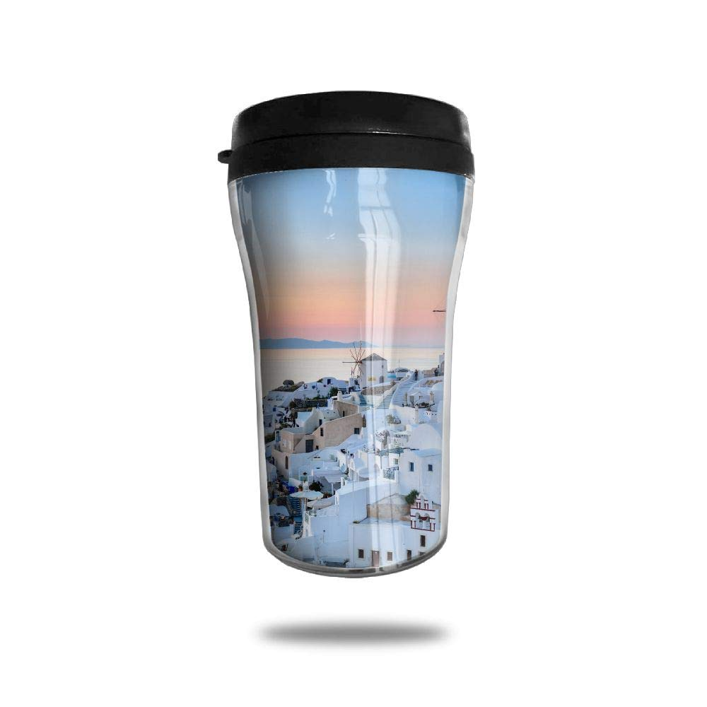 6bd3296a9a6 FTRGRAFE Beautiful Santorini Greece Travel Coffee Mug 3D Printed Portable  Vacuum Cup,Insulated Tea Cup Water Bottle Tumblers for Drinking with Lid  8.54 Oz ...