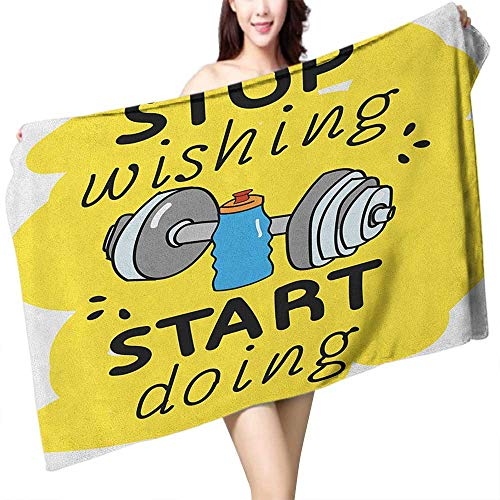 homecoco Extra Long Bath Towel Fitness Stop Wishing Start Doing Inspiring Inscription Dumbbells Water Sports Doodle Style W31 xL63 Suitable for bathrooms, Beaches, Parties