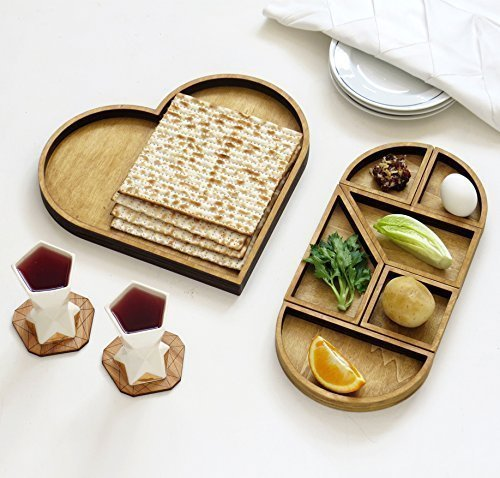 Handmade Passover Seder plate, Wooden Heart Tangram Pessach Decoration + Matzoh Tray, Modern Pesach Night Hostess Gift from Israel