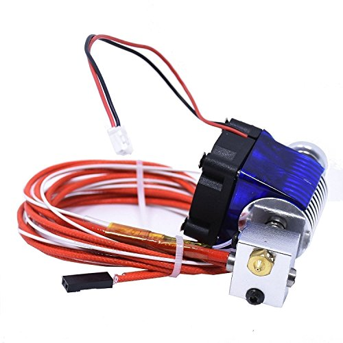HOOMYA Métallique J-Head E3D V6 extrudeuse d'alimenter directe avec ventilateur de refroidissement pour RepRap 3D Presse typographique –1.75mm filament 0.4mm injectour d'huile