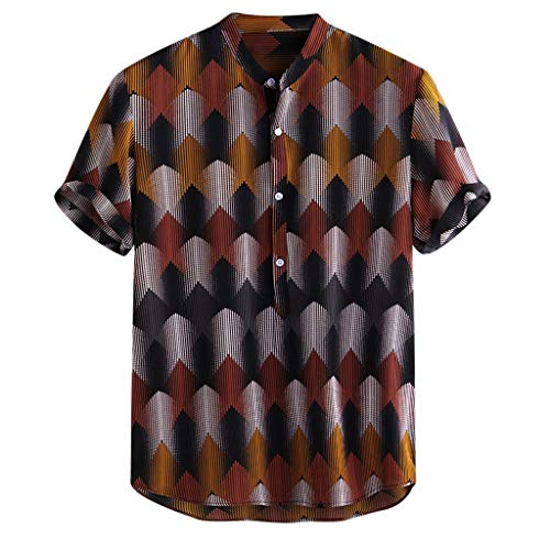 Letdown_Men tops Men Short Sleeve Button Down Shirts, Funny Ethnic Printed Stand Collar Short Sleeve Loose Henley Shirts - Graphic Ethnic