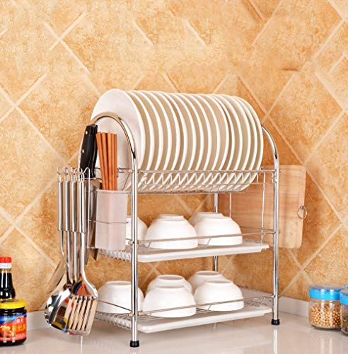 (3 Tier Dish Drainer Rack Organization Shelf Glasses Crockery Cutlery Utensil Drainer with Drip Removable Tray Cutting Board Rack)
