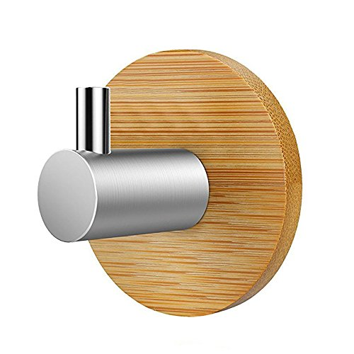 Self Adhesive Small Key Holder for Wall, Heavy Duty Stainless Steel Peg Bamboo Hanger for Robe Towel Bag, Decorative Wall Hooks for Home Bathroom Modern Kitchen Office Cabinet Door Organizer, - Decorative Towel Hooks