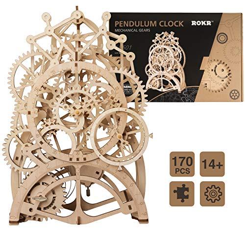 ROKR 3D Wooden Puzzle Building Clock Construction Kit Mechanical Model Building Gift Pendulum Clock ()
