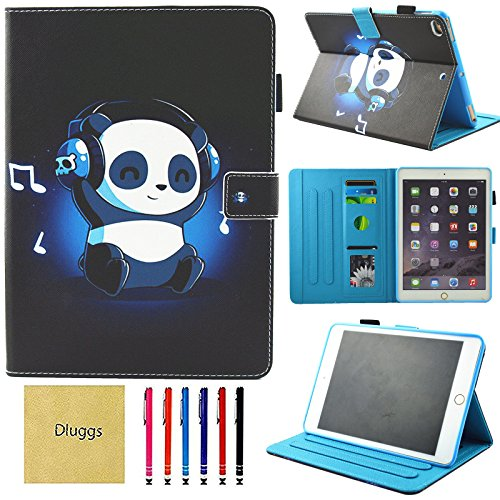 iPad Air 2 Case, iPad Air Case, iPad 9.7 2017/2018 Case, Dluggs PU Leather Folio Smart Cover with Auto Sleep/Wake Function for Apple 9.7 Inch Tablet iPad 6th / 5th Gen, iPad Air 1/2, Rock Panda