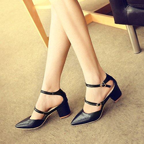JUWOJIA Verano Mujer Shinysandals Señaló Toe Hebilla Tacones Altos 5 Cm Sandalias Zapatos De Mujer Negro