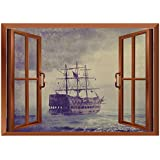 SCOCICI Peel and Stick Fabric Illusion 3D Wall Decal Photo Sticker/Sailboat Nautical Decor,Old Pirate Ship in The Sea Historic Legend Cruise Retro Voyage Grunge Style,Light Brown/Wall Sticker Mural