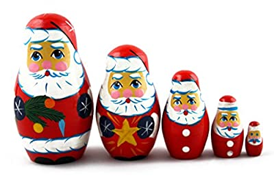 Matryoshka Matreska Babuska Russian Nesting Wooden Doll Santa Claus Matrioshka 5 Pcs Stacking Hand Painting Beautiful Nested Great Craft Matriosjka Matrioska Matreshka Matrjoska Matroeska