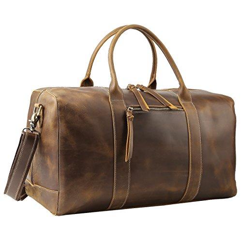 Polare Mens Full Grain Leather Duffel Bag Overnight Travel Duffle Weekender Bag (Medium(20))