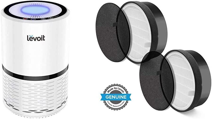 LEVOIT H13 True HEPA Filter Air Purifiers, LV-H132 & LV-H132 Air Purifier Replacement Filter, 3-in-1 Nylon Pre-Filter, HEPA Filter, High-Efficiency Activated Carbon Filter, LV-H132-RF, 2 Pack,Black