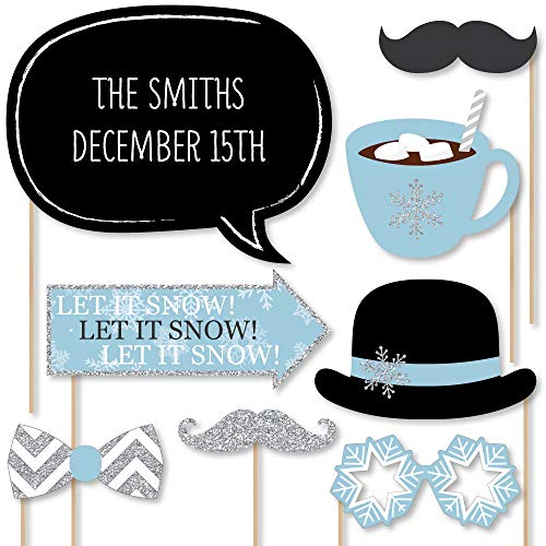 Big Dot of Happiness Custom Winter Wonderland Photo Booth Props Kit - Personalized Winter Wedding Party Supplies - 20 Selfie Props -