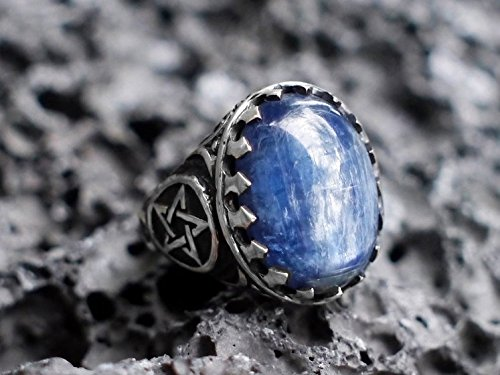 Sterling Silver Pentagram Ring, Unisex Kyanite Ring MADE TO ORDER, mens ring, pentacle ring, wiccan jewelry, pagan jewelry,witchcraft ring