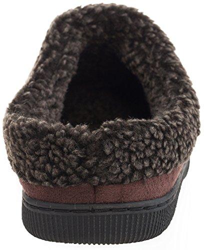 Mixin Hombres Felpa Forro Polar Forrado Slip On Memory Foam Clog Zapatillas De Casa Interior / Exterior Marrón