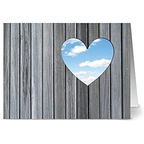 24 Note Cards - A Heart with a View - Blank Cards - Red Envelopes Included Sales