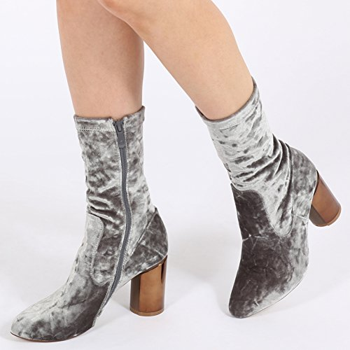 Womens Zip Up Metallic Shine Mirrored Heel Ankle Boots Silver Velvet 3-8 Y3pV6TzRu