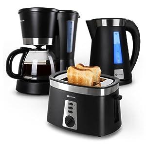 Klarstein Sunday Morning 3 in 1 Frühstücks-Set (1,7 L Wassserkocher mit LED-Lichteffekt, 2-Scheiben-Toaster mit Brötchenaufsatz, Kaffeemaschine für 12 Tassen Kaffee) schwarz