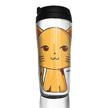 bbc7c232f5f3 Coffee Mug Smiling Cat Cartoon Travel Tumbler Insulated Leak Proof ...