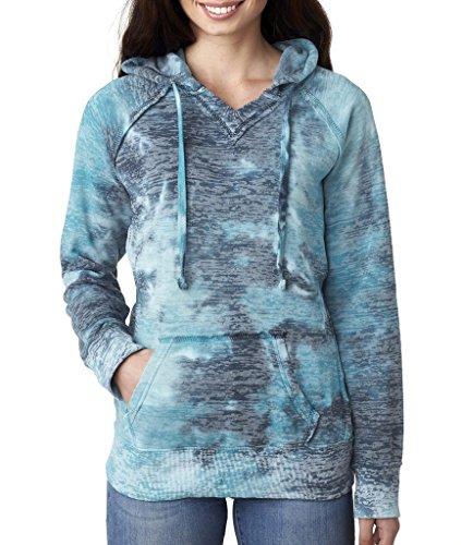 Weatherproof Ladies Burnout Hooded Pullover Fleece Burnout Hoodies Colorful Hoodies Medium Bahama Blueaa 1