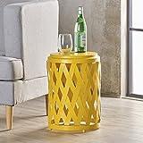 Cheap Perciad Indoor 12 Inch Diameter Lattice Matte Yellow Iron Side Table
